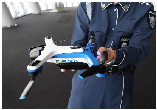 ALSOKが開発したAI搭載の完全_自律飛行型巡回ドローン。東京スカイツリータウン内で実施された警備システムの実証実験で使われた(ALSOKニュースリリースから)