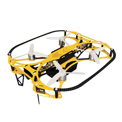 「操縦型IBIS」狭小空間にて低速で安定飛行し、鮮明な映像を取得できる。サイズ:191mm×179mm×54mm(プロペラガード込み)