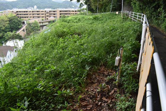傾斜計が設置された急斜面。昨年、左側の家直前まで土砂が押し寄せた