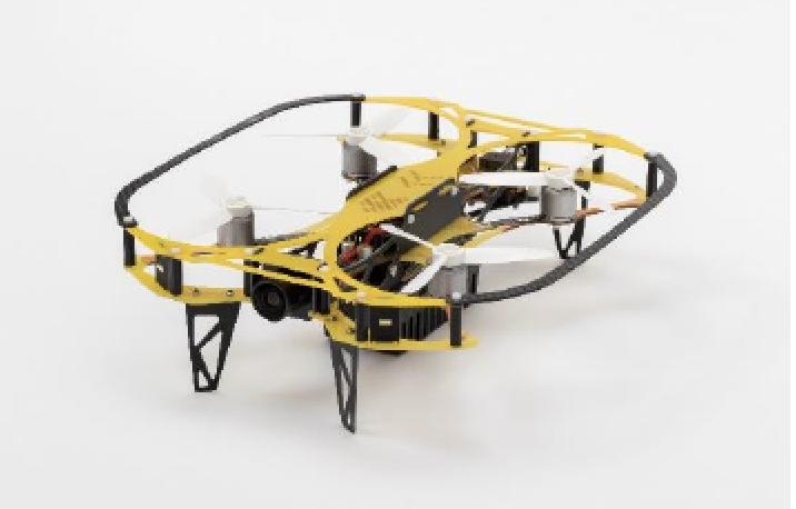 産業用小型ドローンIBIS(設備点検型)の概要/サイズ:191×179×54mm(プロペラガード込み)重量:185g(バッテリー込み)飛行時間:最大8分 装備類:LED照明、防塵用モニター、独自設計のプロペラ、他